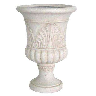 20 in. x 28 in. Cast Stone French Urn in Aged White