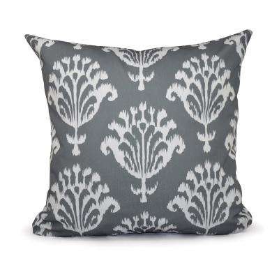 16 in. x 16 in. Floral Motifs Decorative Pillow in Gray