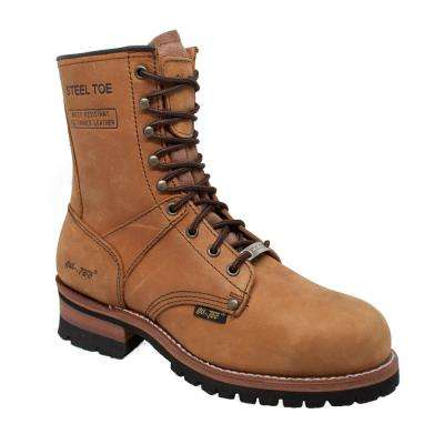 Men's Crazy Horse Leather Steel Toe Logger Boot