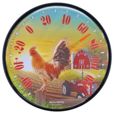 12.5 in. Barnyard Rooster Analog Thermometer