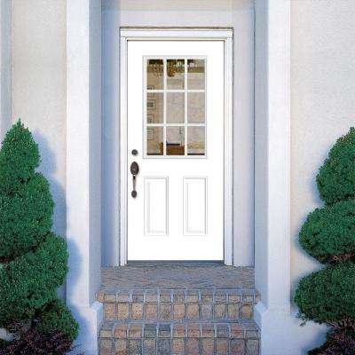 36 in. x 80 in. 9 Lite Right-Hand Inswing Primed White Smooth Fiberglass Prehung Front Exterior Door, Vinyl Frame