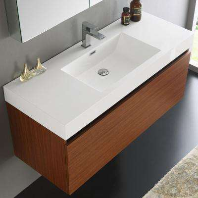 Mezzo 48 in. Vanity in Teak with Acrylic Vanity Top in White with White Basin and Mirrored Medicine Cabinet