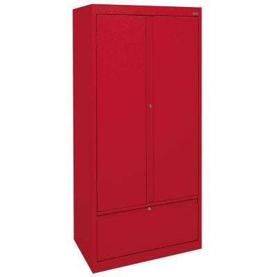 System Series 30 in. W x 64 in. H x 18 in. D Storage Cabinet with File Drawer in Red