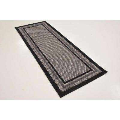 Outdoor Multi Border Gray 2' 2 x 6' 0 Runner Rug