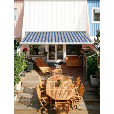 8 ft. Luxury L Series Semi-Cassette Manual Retractable Patio Awning (78 in. Projection) in Ocean Blue/Beige Stripes