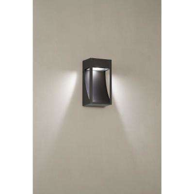 Monticello 1-Light Oil Rubbed Bronze Outdoor Integrated LED Wall Lantern Sconce with Etched Lens