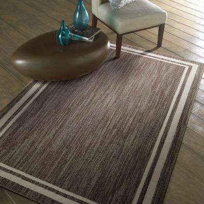Border Loop Dark Khaki Spice Cream 2 ft. x 8 ft. Indoor Runner Rug