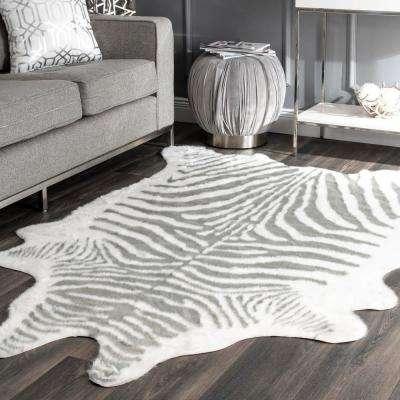 Faux Zebra Hide Gray 5 ft. x 7 ft.  Shaped Rug