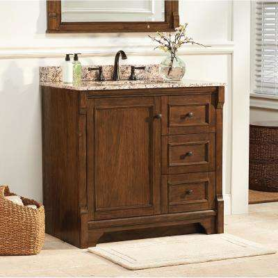 Creedmoor 37 in. W x 22 in. D Vanity in Walnut with Granite Vanity Top in Santa Cecilia with White Sink