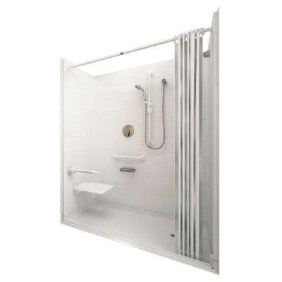 Elite White 33-4/12 in. x 60 in. x 77-1/2 in. 5-piece Barrier Free Roll In Shower System in White with Right Drain