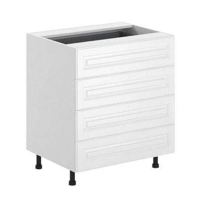 30x34.5x24.5 in. Birmingham 4-Drawer Base Cabinet in White Melamine and Door in White