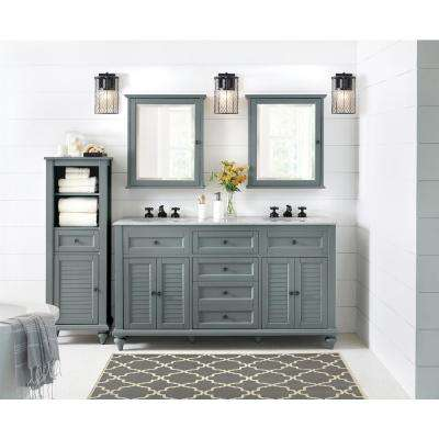 Hamilton 61 in. W x 22 in. D Double Bath Vanity in Grey with Granite Vanity Top in Grey with White Sink