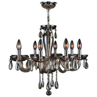 gatsby collection 8 light polished chrome with golden teak crystal handblown glass chandelier - Blown Glass Chandelier