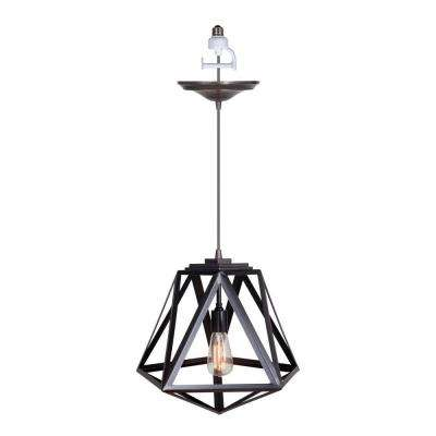 1-Light Brushed Bronze Instant Pendant Conversion Kit with Cage Shade