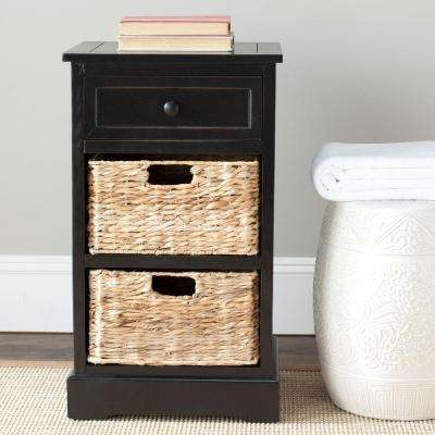 Carrie Side Storage Side Table in Distressed Black