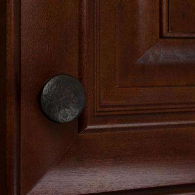 1-1/4 in. Dia Oil Rubbed Bronze Round Hammered Cabinet Knob (10-Pack)