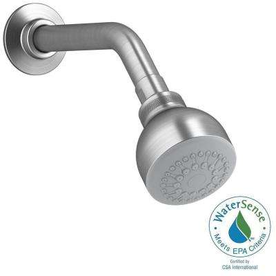 Coralais 1-spray Single Function 2-3/4 in. Raincan Showerhead in Brushed Chrome