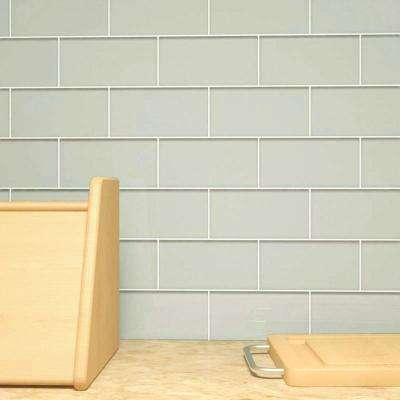 Light Gray 3 in. x 6 in. x 8 mm Glass Subway Tile (5.5 sq. ft./case)