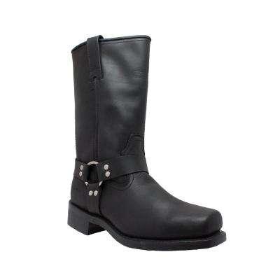 Men's Black Full-Grain Oiled Leather Harness Boot