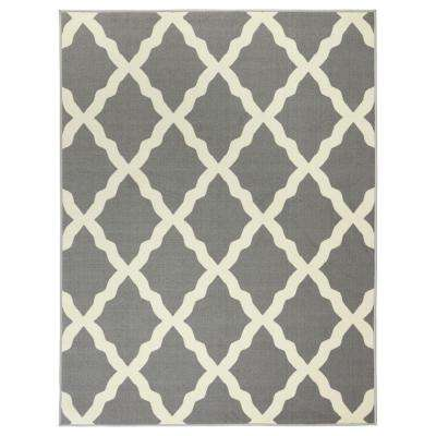 Glamour Collection Contemporary Moroccan Trellis Gray 3 ft. 3 in. x 5 ft. Area Rug