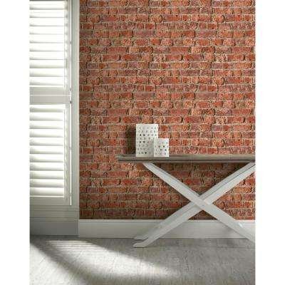 Urban Brick Red Paper Strippable Roll (Covers 57 sq. ft.)