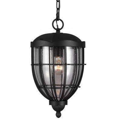 River North Collection 1-Light Textured Black Outdoor Hanging Pendant