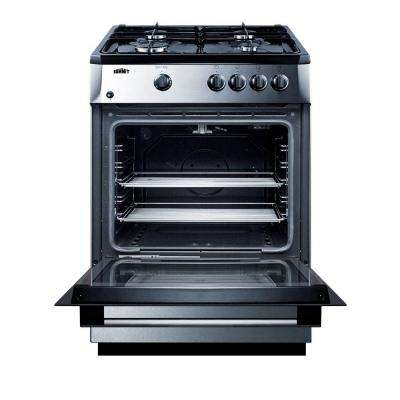 24 in. 2.7 cu. ft. Slide-In Gas Range in Stainless Steel and Black