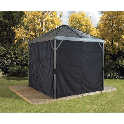 10 ft. W x 10 ft. H Curtains (set of 4) for Sanibel Sun Shelter in Black with Hooks (Gazebo Not Included)