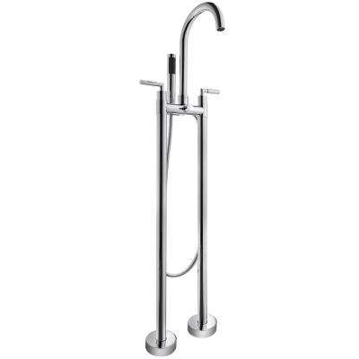 2-Handle Freestanding Floor Mount Roman Tub Faucet Bathtub Filler with Hand Shower in Chrome