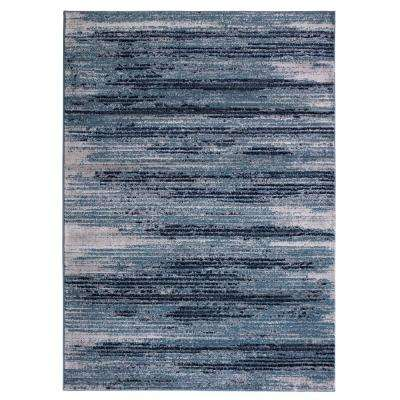 Jasmin Collection Stripes Teal 7 ft. 10 in. x 9 ft. 10 in. Area Rug