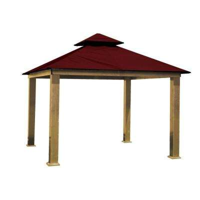 14 ft. x 14 ft. ACACIA Aluminum Gazebo with Maroon Canopy