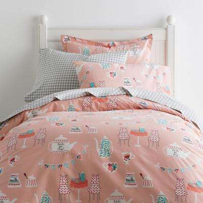 Tea For Two 200-Thread Count Cotton Percale Duvet Cover