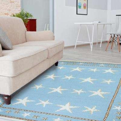 Starfish Scatter Blue 8 ft. x 10 ft. Indoor/Outdoor Area Rug