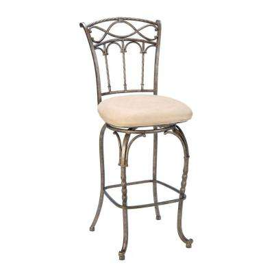 Kendall 30 in. Pewter/Antique Bronze Cushioned Bar Stool