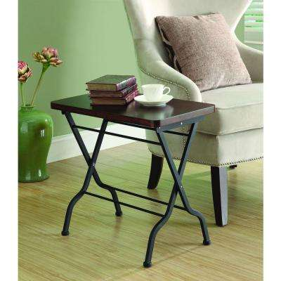 Metal Folding Cherry/Charcoal Black Accent Table