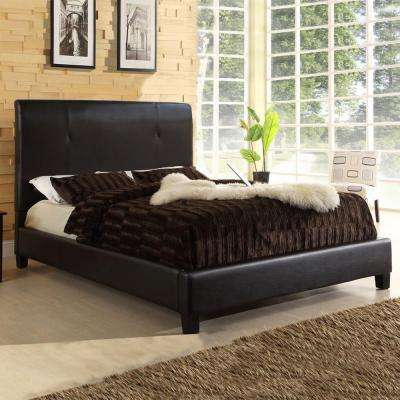 Cambridge Contemporary Dark Brown Faux Leather Upholstered Queen Size Bed