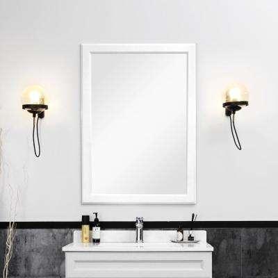 24 in. W x 36 in. H Framed Wall Mirror Bathroom Mirror in Dove White