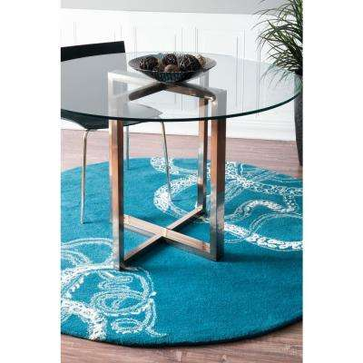 Octopus Tail Abstract Blue Waters 6' Round Rug