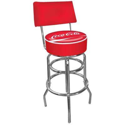 Coca Cola 30 in. Chrome Swivel Cushioned Bar Stool