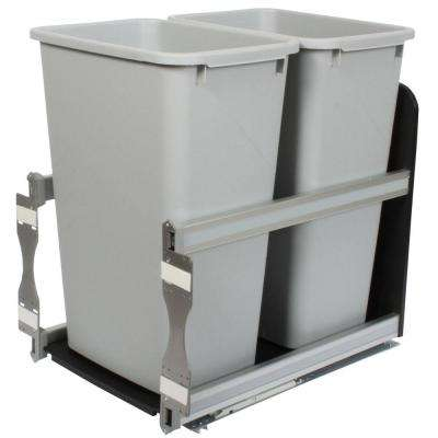 23 in. D x 15 in. W x 22 in. D Plastic In-Cabinet 50 Qt. Double Pull-Out Soft Close Trash Can in Gray