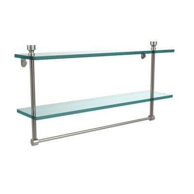 Foxtrot Collection 22 in. 2-Tier Glass Shelf with Integrated Towel Bar in Satin Nickel