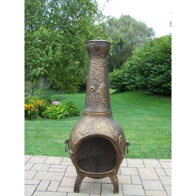 Dragonfly Cast Metal 53 in. Tall Chimenea with Built-in Handles, Log Grate, Spark Guard Screen on Stack and Door