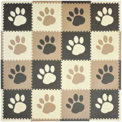 Brown Paw Print 50 in. x 50 in. Residential Play Mat