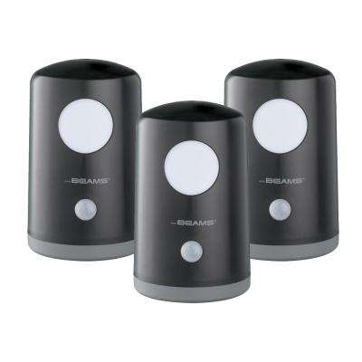 Stand Anywhere Motion Activated Battery Powered 20-Lumen LED Night Light, Black (3-Pack)