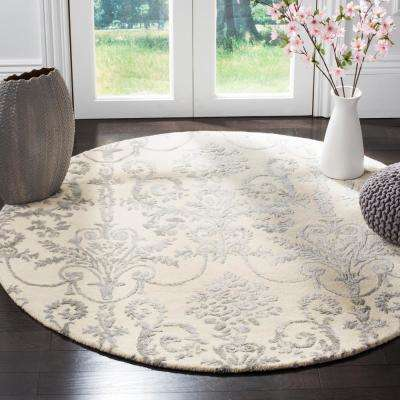 Bella Ivory/Gray 5 ft. x 5 ft. Round Area Rug