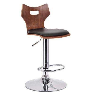 Baxton Studio Amery Brown Wood and Black Faux Leather Adjustable 2-Piece Bar Stool Set