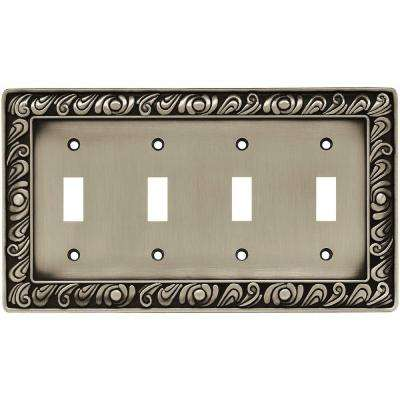 Paisley 4 Gang Toggle Switch Wall Plate - Brushed Satin Pewter