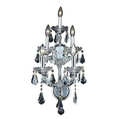 5-Light Chrome Sconce with Clear Crystal