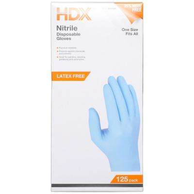 Large Blue Lightly Powdered Disposable Nitrile Gloves (125-Count)