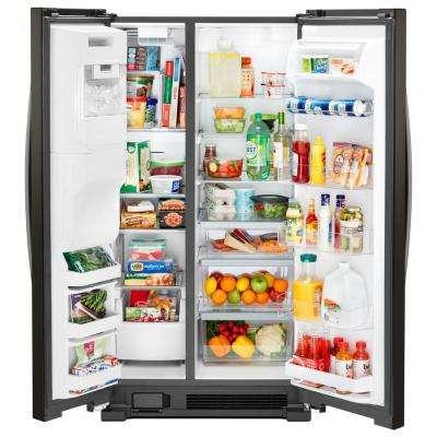 25 cu. ft. Side by Side Refrigerator in Fingerprint Resistant Black Stainless